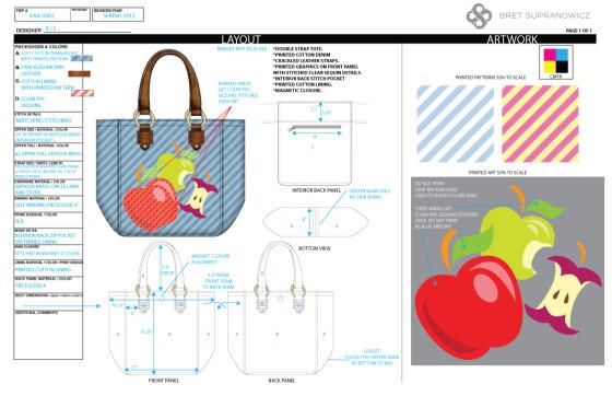 HANDBAG TECHNICAL CAD EXAMPLE
